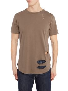 Criminal Damage Shoreditch regular fit longline ripped t shirt