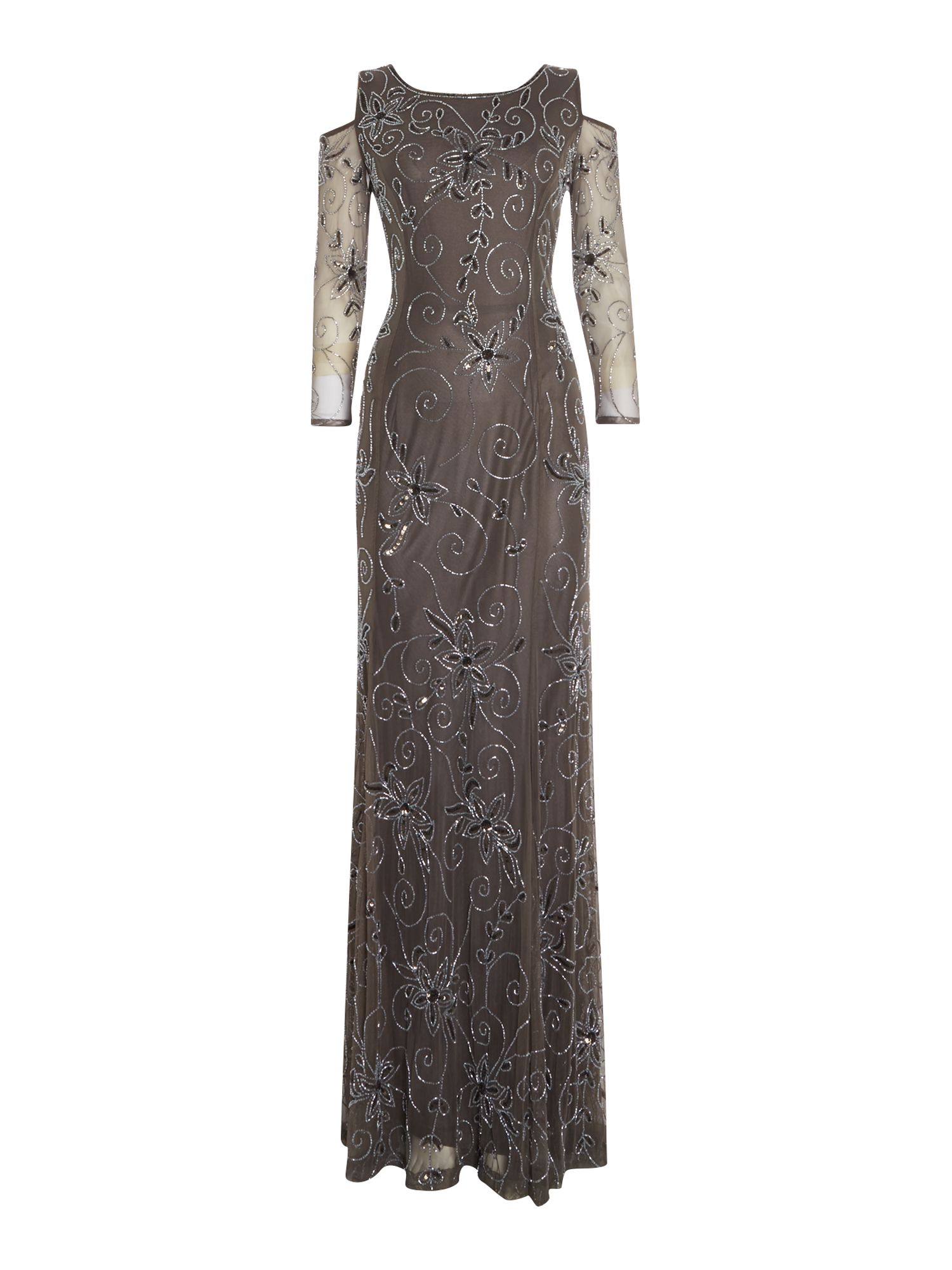 Shubette Shubette Sequin gown with cold shoulder, Pewter