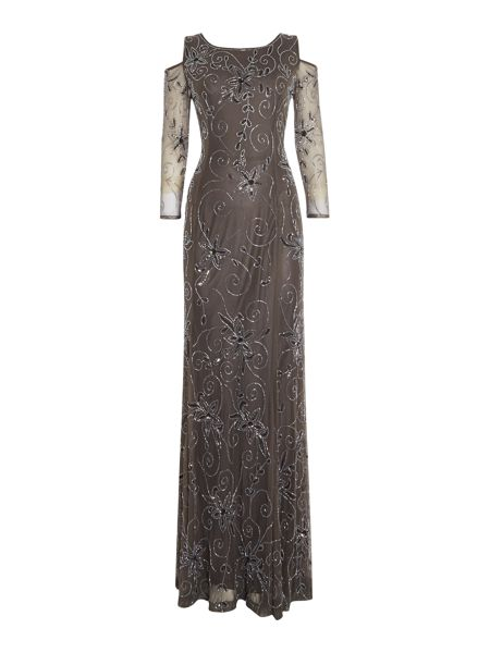 Shubette Sequin gown with cold shoulder
