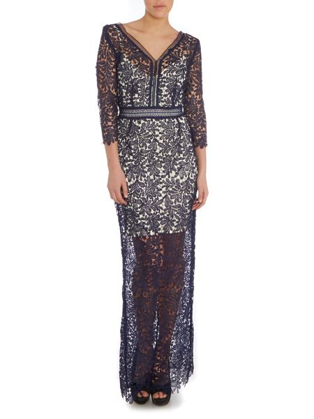 Little Mistress Long Sleeve Lace Overlay Maxi Dress