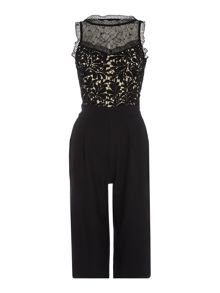 Little Mistress Sleeveless Lace Top Cullotte Jumpsuit
