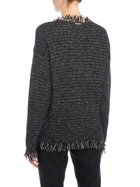 Michael Kors Fringe Trim Long Sleeved Sweater