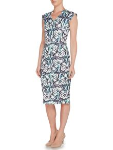 Pied a Terre Palm Print Scuba Bodycon Dress