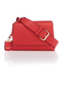 DKNY Lexington red flapover cross body bag