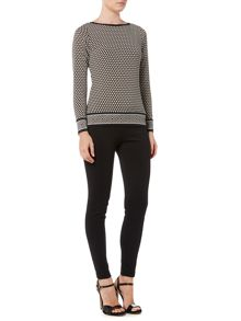 Michael Kors Long Sleeve Border Top