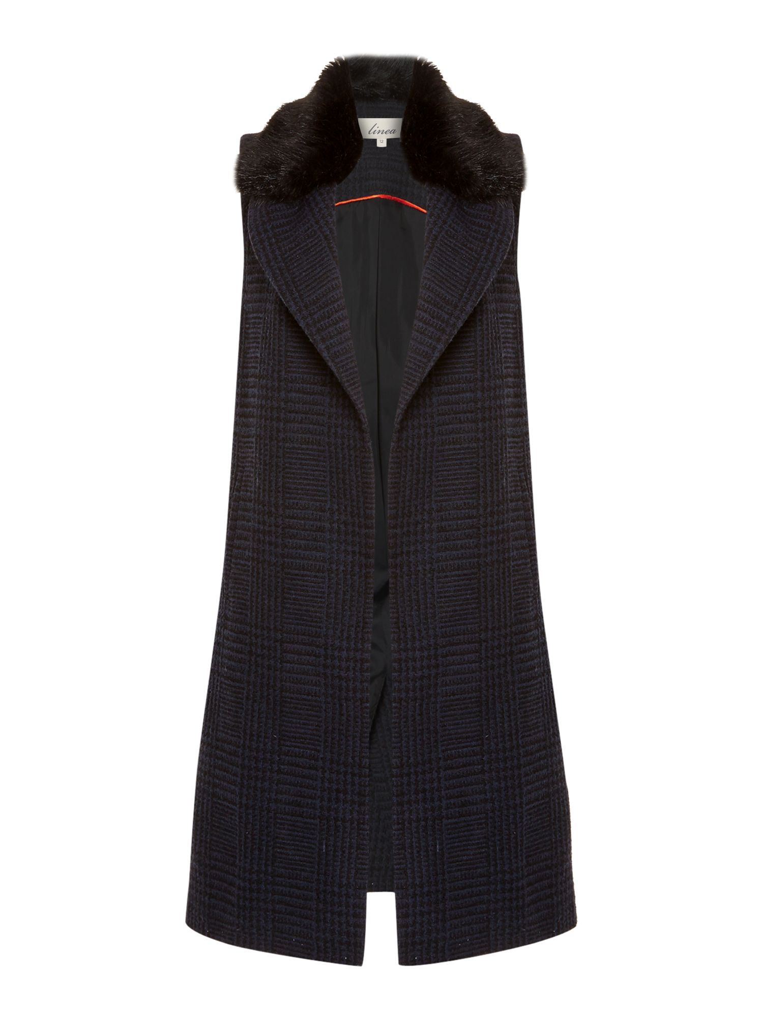 Linea Faux fur collar waistcoat, Multi-Coloured