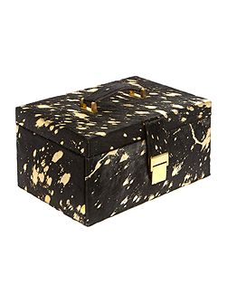 Gold metallic leather jewellery box