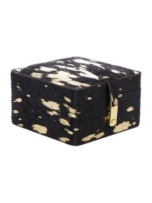 Biba Gold metallic leather jewellery box, small