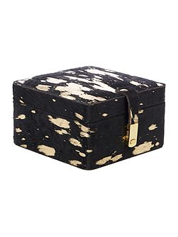 Gold metallic leather jewellery box, small