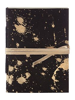 Gold metallic leather notebook