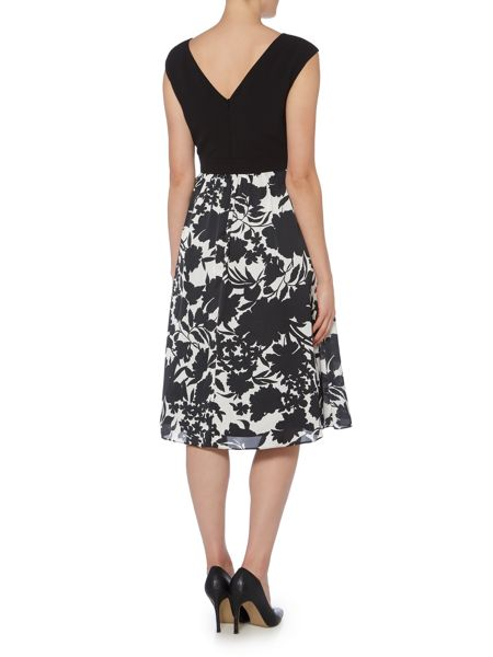 Ariella Cap sleeve dress with printed midi skirt