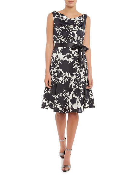 Ariella Cowl neck satin dress with tie belt