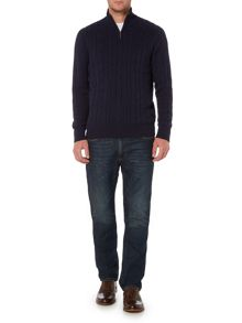 Howick Sanford Cotton Cable Funnel Neck Jumper