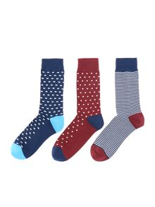 Linea 3 pack square spot sock