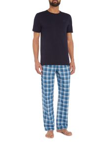Ted Baker Aaron Plain Tee And Check Pant Pyjama Set