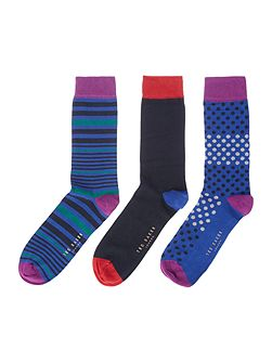 3 Pack Assorted Print Socks