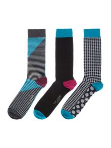 Ted Baker 3 Pack Stripe and Plain Socks