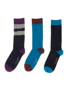 Ted Baker 3 Pack Plain Socks