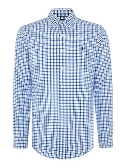 Long sleeve slim fit poplin check