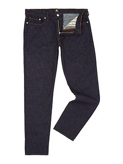 Tapered fit dark rinse jeans
