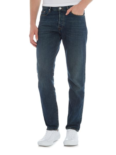 PS By Paul Smith Tapered fit green cast dark wash jeans