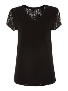 Pied a Terre Lace Back Jersey Top