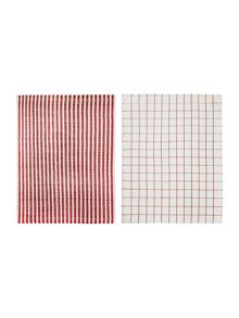 Linea Terry red set of 2 tea towels
