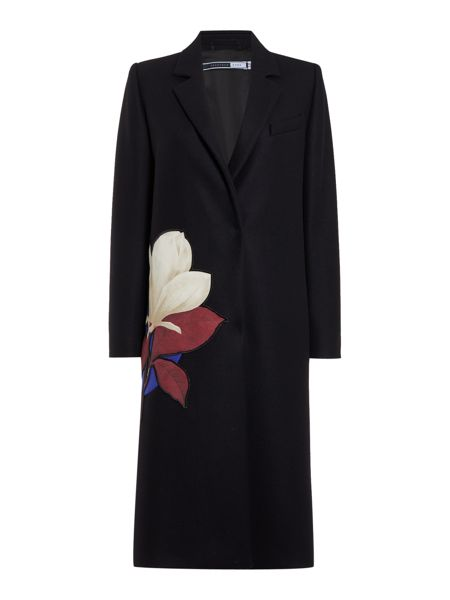 Sportmax Code Toronto long sleeve floral detail wool coat