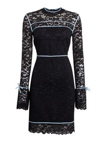 Sportmax Code Augusto long sleeve lace contrast piping dress