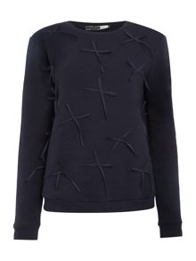 Sportmax Code Texas long sleeve detail sweatshirt