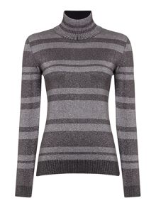 Sportmax Code Crotone long sleeve metallic striped polo neck