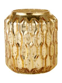 Linea Gold honeycomb mercury effect candleholder