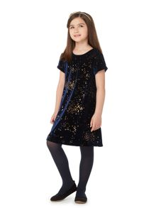 Little Dickins & Jones Girls Velvet Heart Print Dress