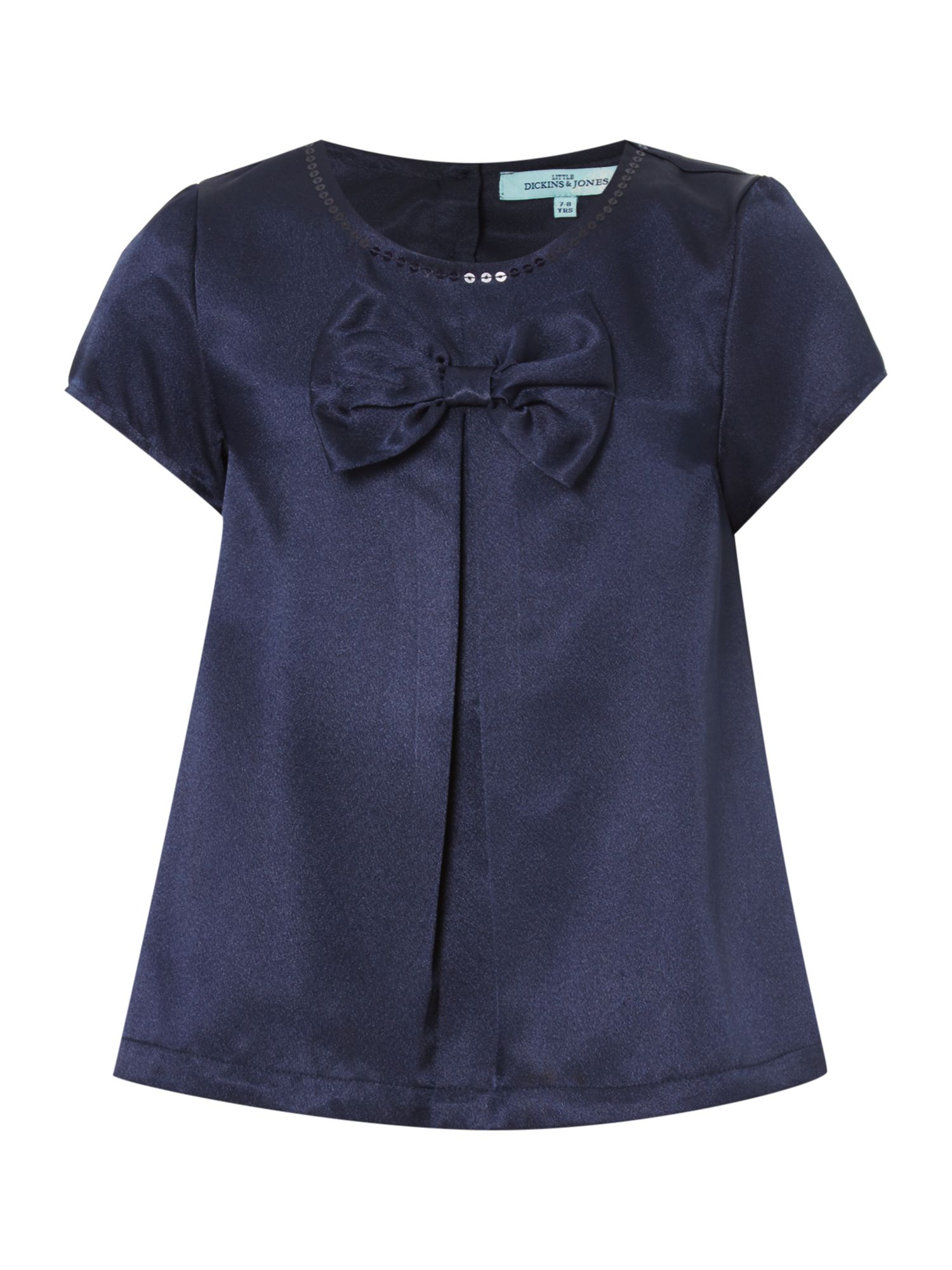 Little Dickins & Jones Little Dickins & Jones Sleeveless Shirt Large Bow on Front, Navy
