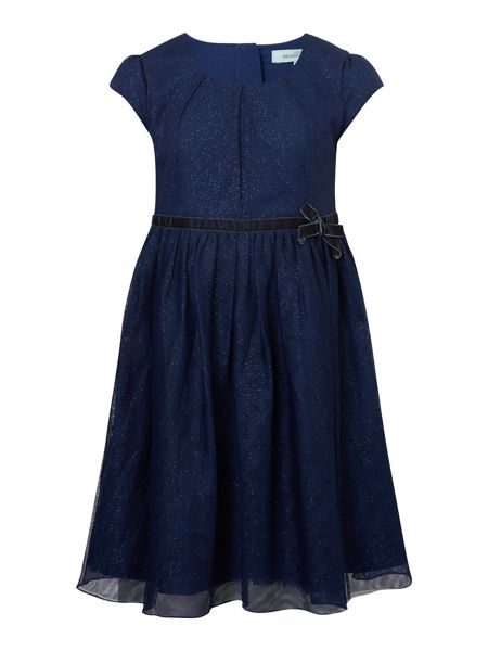Little Dickins & Jones Short Sleeve Sparkle Mesh Dress with Bow