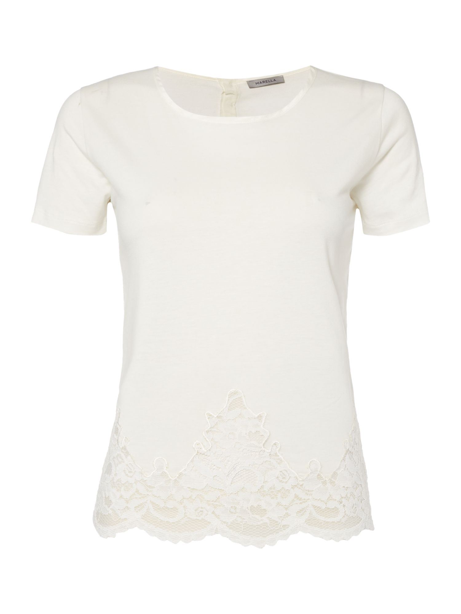 Marella Ocean short sleeve lace detail top, White