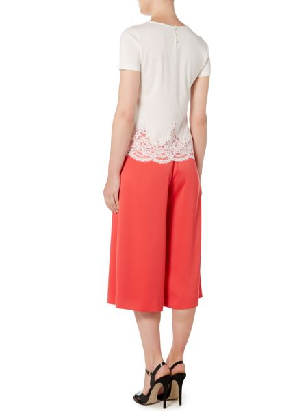 Marella Ocean short sleeve lace detail top