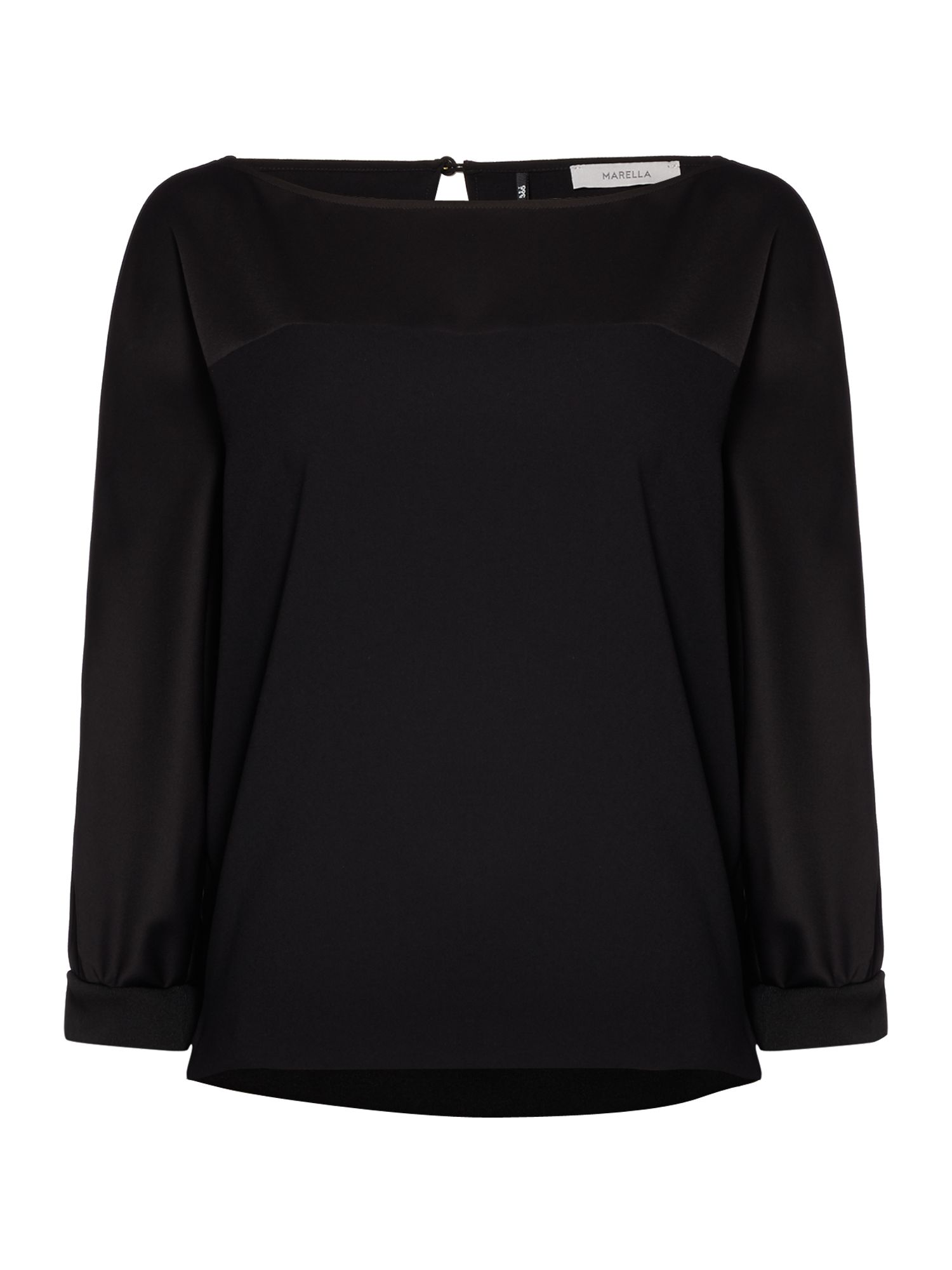 Marella Iorgo long sleeve silk top, Black