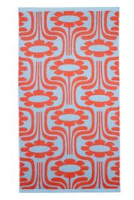 Orla Kiely Climbing Daisy Persimmon and Blue Beach Towel