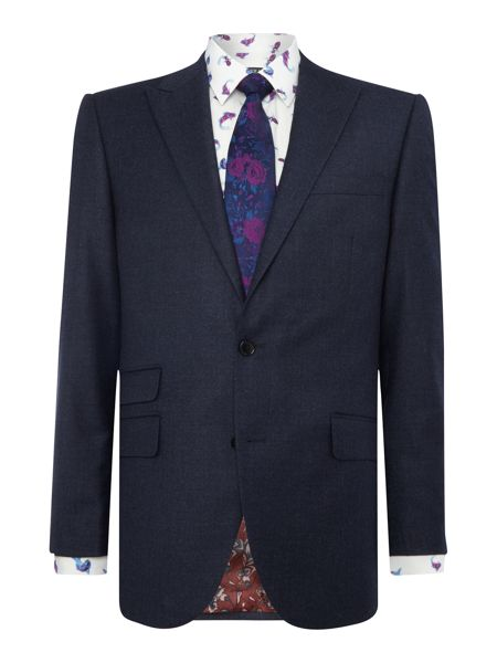 New & Lingwood Tutberry peak lapel flannel suit jacket