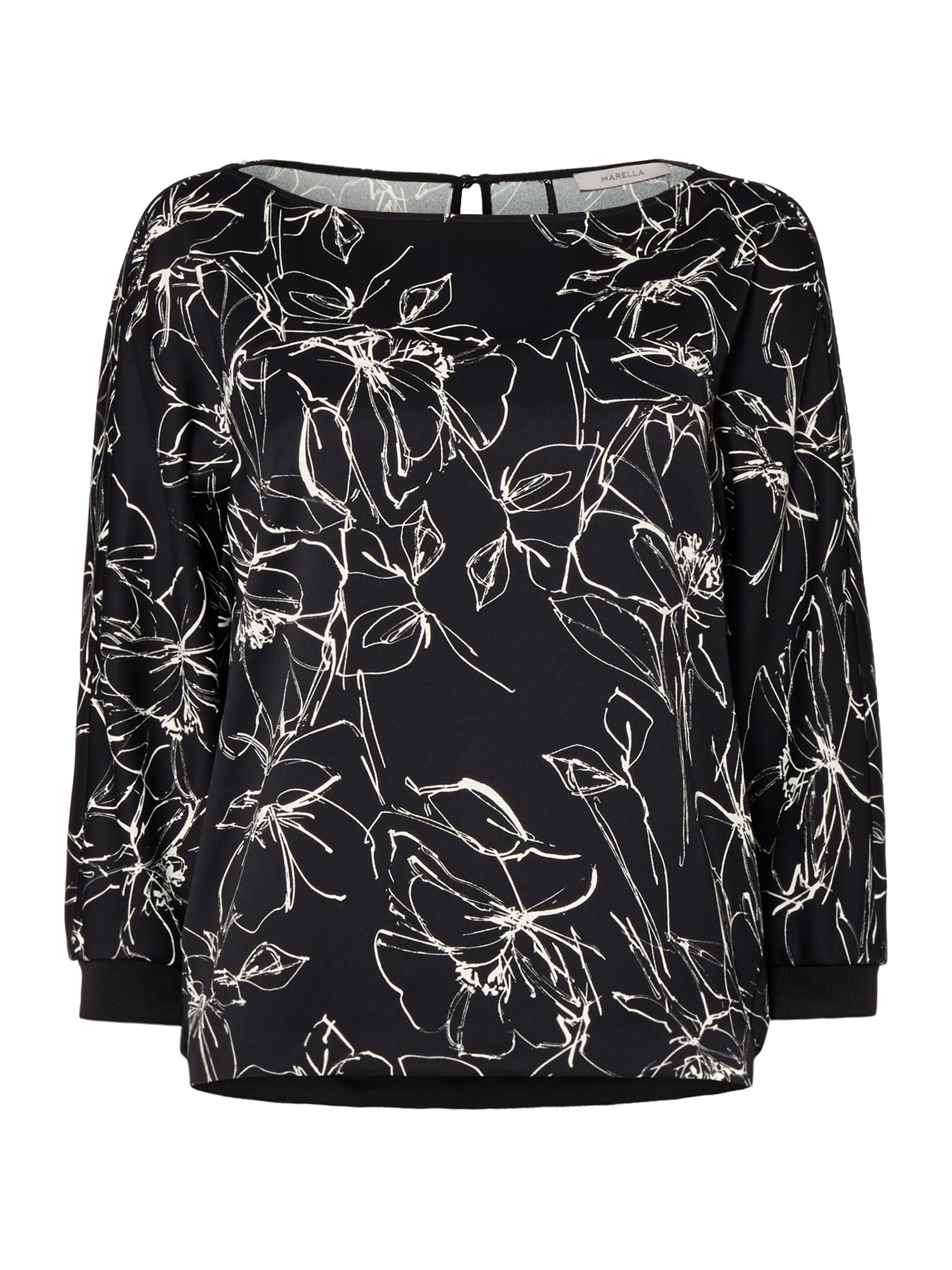 Marella Sospiro long sleeve floral print top, Black
