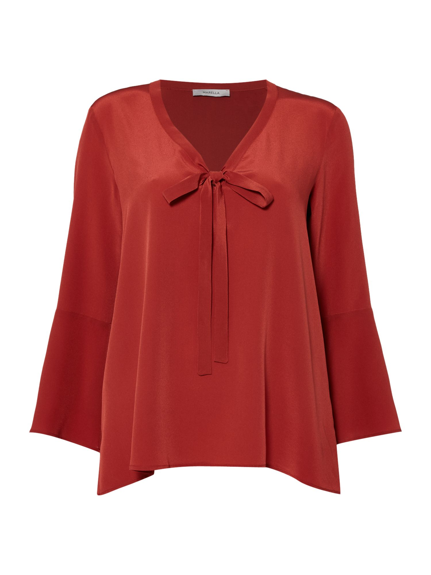 Marella Giugno silk blouse with tie, Rust