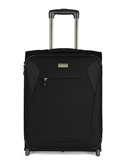 Elba black 2 wheel soft cabin suitcase
