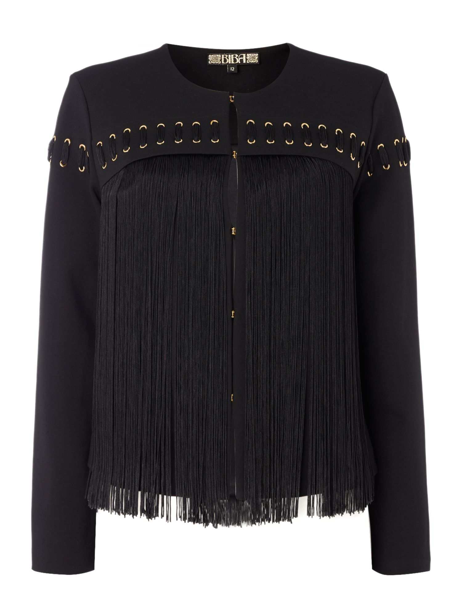 Biba Fringed eyelet detail ponti jacket, Black