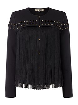 Fringed eyelet detail ponti jacket
