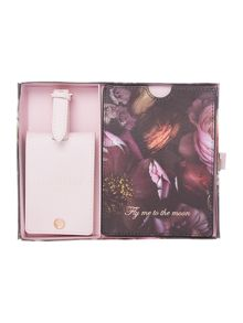 Ted Baker Shadow purple passport holder and luggage tag