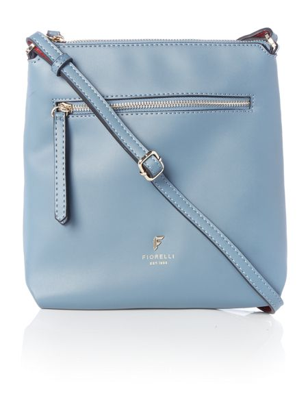 Fiorelli Logan light blue small ziptop crossbody bag
