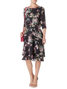 Biba Printed layered zip back dress