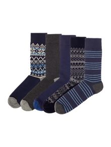 Howick 5 Pack Fairisle Sock
