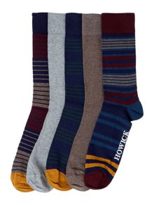 Howick 5 Pack Burgundy Stripe Sock